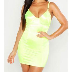 Boohoo | Neon Satin Dress